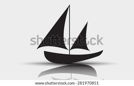 Black sailing boat icon vector. - stock vector