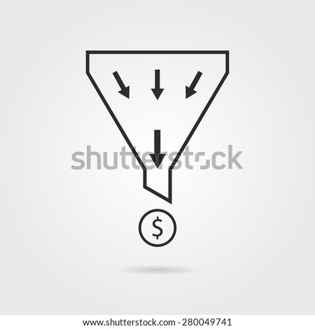 black sales funnel with coin and shadow. concept of profit, diversification, social activity, reward, earnings. isolated on grey background. flat style trend modern logo design vector illustration - stock vector