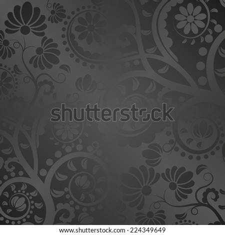 black satin background with floral ornaments - stock vector