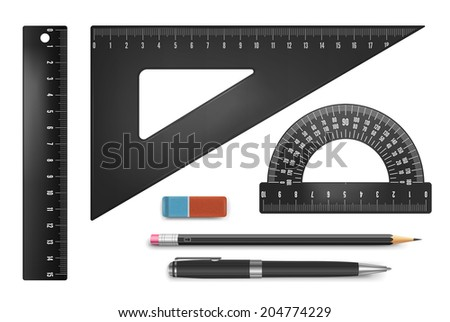 Black school equipment set: ruler, protractor, corner, pencil and pen. Vector illustration. - stock vector