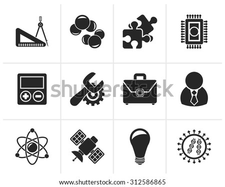 Black Science and Research Icons - Vector Icon set - stock vector