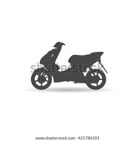 Black scooter shadow. Vector illustration