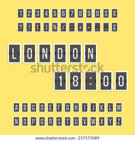 black scoreboard letters and numbers alphabet stickers. concept of board at the airport, trendy alphabet and sports scores. isolated on yellow background. flat style modern design vector illustration - stock vector