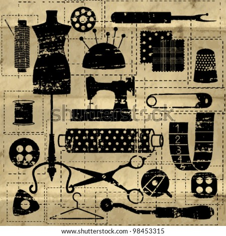 Black scratched sewing and tailoring related symbols on old paper background - stock vector