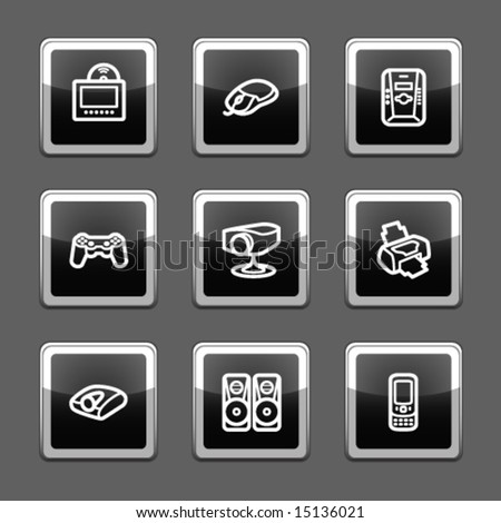 Black screen web icons, set 21