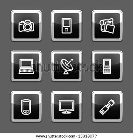 Black screen web icons, set 16