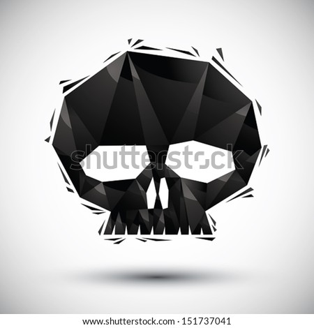 Black scull geometric icon made in 3d modern style, best for use as symbol or design element. - stock vector