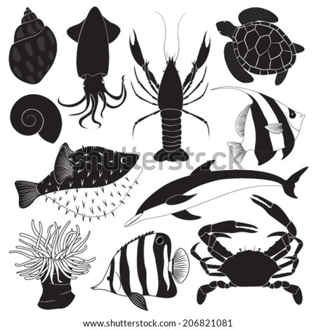 Black Sea Creature Icons - stock vector