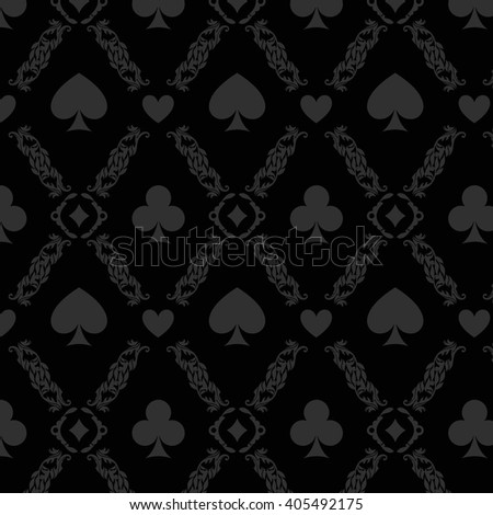 Black seamless casino gambling poker background or damask pattern with cards symbols. Vector casino gambling illustration of seamless poker pattern. Seamless pattern is in the swatches palette. - stock vector
