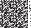 black seamless lace pattern on white background - stock vector