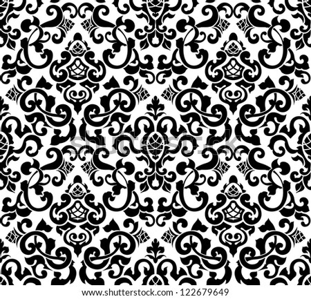 Black seamless pattern, vector silhouette - stock vector