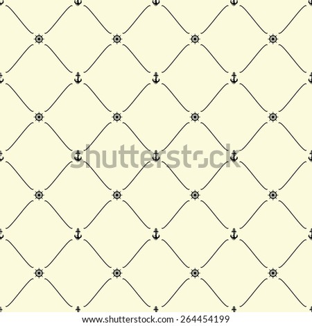 Black seamless pattern with anchor & ship wheel symbols on beige, 10eps. - stock vector