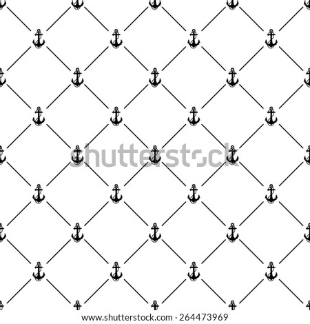 Black seamless pattern with anchor symbol on white, 10eps.