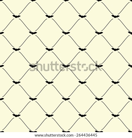 Black seamless pattern with bat symbol on beige, vector, 10eps. - stock vector