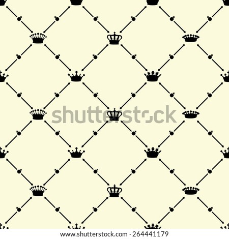 Black seamless pattern with crown symbol on beige, vector, 10eps.
