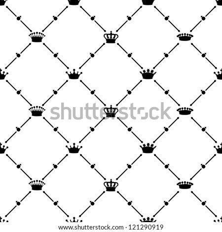Black seamless pattern with crown symbol, vector, 10eps.