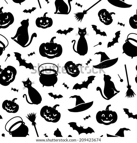 Black Seamless Pattern Halloween Symbols On Stock Vector 209423674 ...