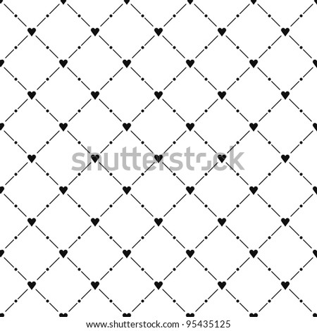 Black seamless pattern with heart symbol. See more vector illustrations in my gallery - stock vector
