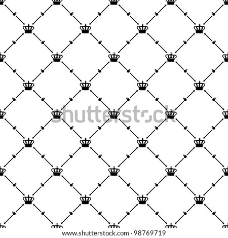 Black seamless pattern with king crown symbol, 10eps. - stock vector