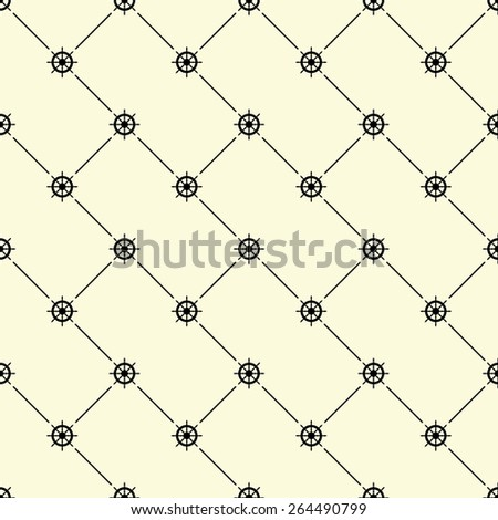 Black seamless pattern with ships wheel symbol on beige, 10eps. - stock vector