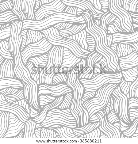 Black seamless wavy line pattern vector illustration.Hand drawn for adult anti stress. Coloring page with high details  for relax and meditation.