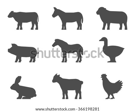 Black set of farm animal silhouettes on a white background. Vector shape cow, pig, rabbit, donkey, horse, goat, sheep, goose and chicken. - stock vector