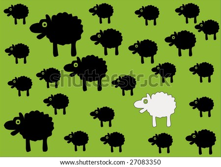 Black sheep of the family - vector - stock vector