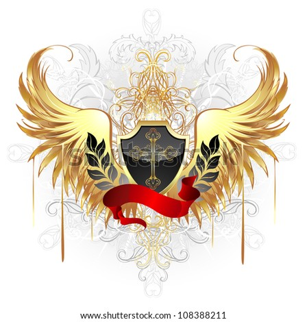 black shield, decorated with a gold cross, a red ribbon and gold wings on a white background. - stock vector