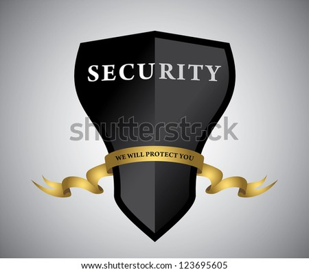 Black shield with golden ribbon. Vector - stock vector