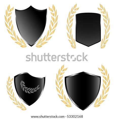 Black shields and golden laurels. Vector illustration - stock vector