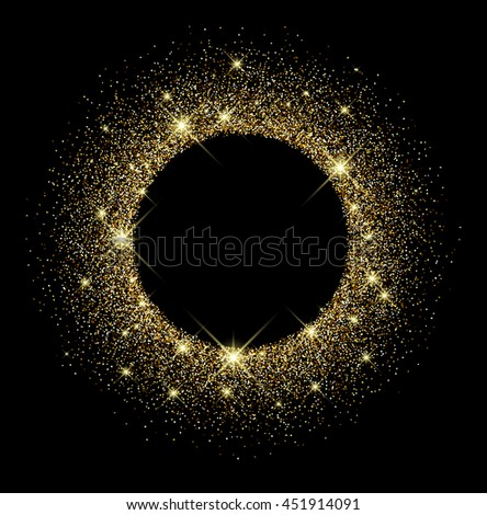 Black shining round background with sand. Vector paper illustration. - stock vector