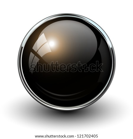 Black shiny button with metallic elements, vector design for website. - stock vector