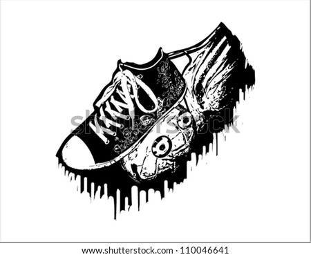 Black shoe print on the shirt - stock vector