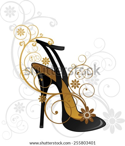 Black shoe with floral decorations-transparency blending effects and gradient mesh-EPS10. - stock vector