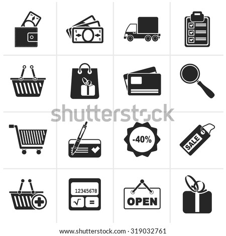 Black Shopping and website icons - vector icon set - stock vector