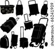 Black shopping bags vector set - stock vector