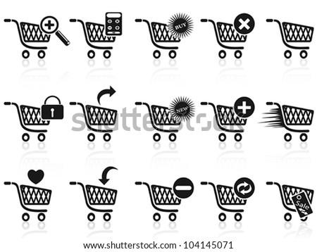 black shopping cart icon set - stock vector
