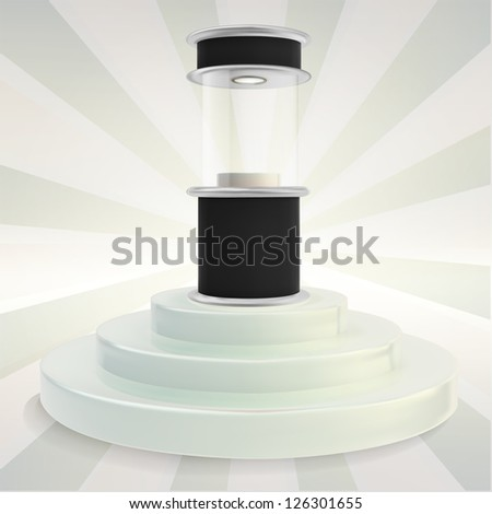 Black showcase glossy exhibition stand over white step podium, eps10 vector composition - stock vector