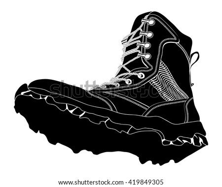 Black Silhouette Army Boot on White Background. Military Shoes - stock vector