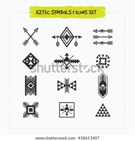 Black Silhouette Aztec Tribal Signs Symbols Stock Vector 2018
