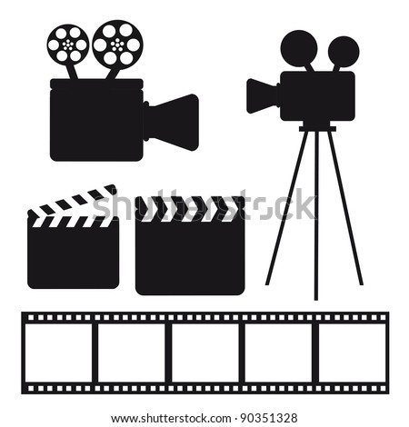 black silhouette cinema elements over white background. vector - stock vector