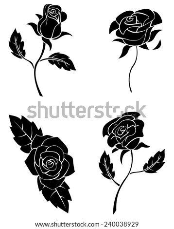Black Silhouette Collection Of Rose Flower  - stock vector