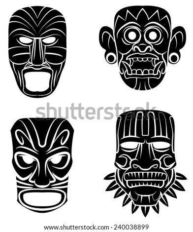 Black Silhouette Collection Of Totem Mask  - stock vector