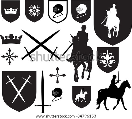 Black silhouette designs, and icons for use in old vintage or antique designs, - stock vector