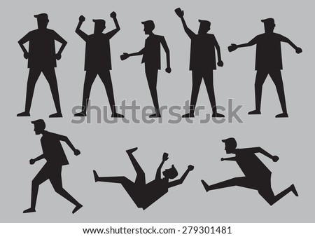 Black silhouette for cartoon man in different gestures and body language. Vector character illustration isolated on plain grey background. - stock vector