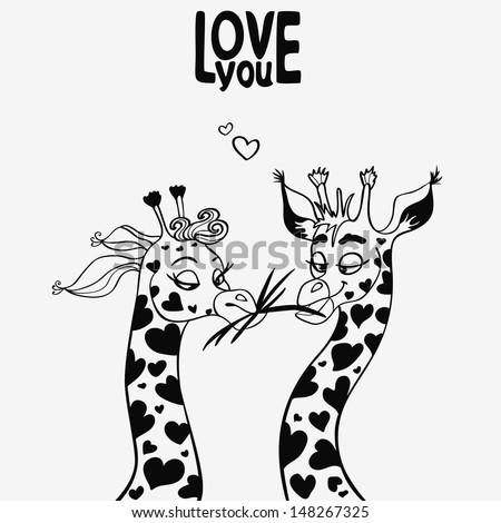 Giraffes in Love Drawing in Love Giraffes Stock