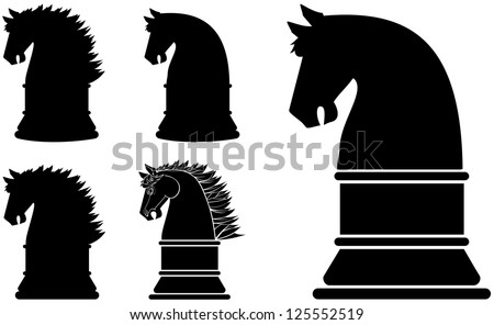 Black silhouette horse chess piece or symbol series - stock vector
