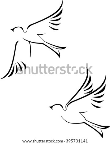 black silhouette linear images of birds on a white background - stock vector