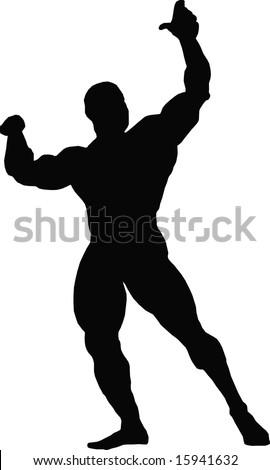 black silhouette men demonstrating their own muscles on white background - stock vector