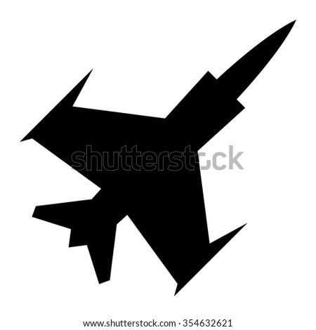 Black Silhouette Military Flying Fighter Jet vector icon